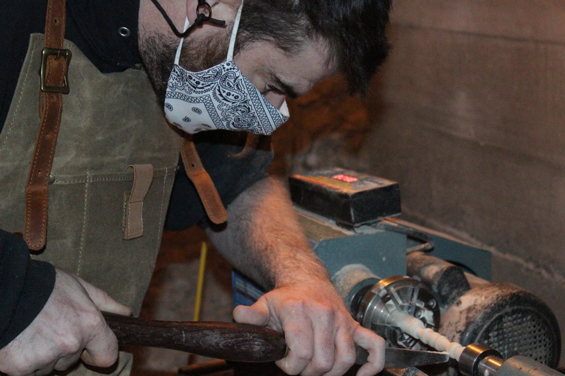 brock on wood lathe [quench boutique woodstock workshop]